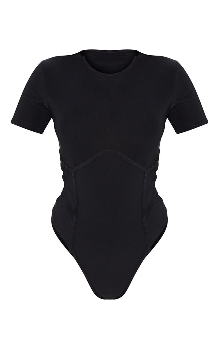 Body manches courtes en jersey noir à liserés buste 5