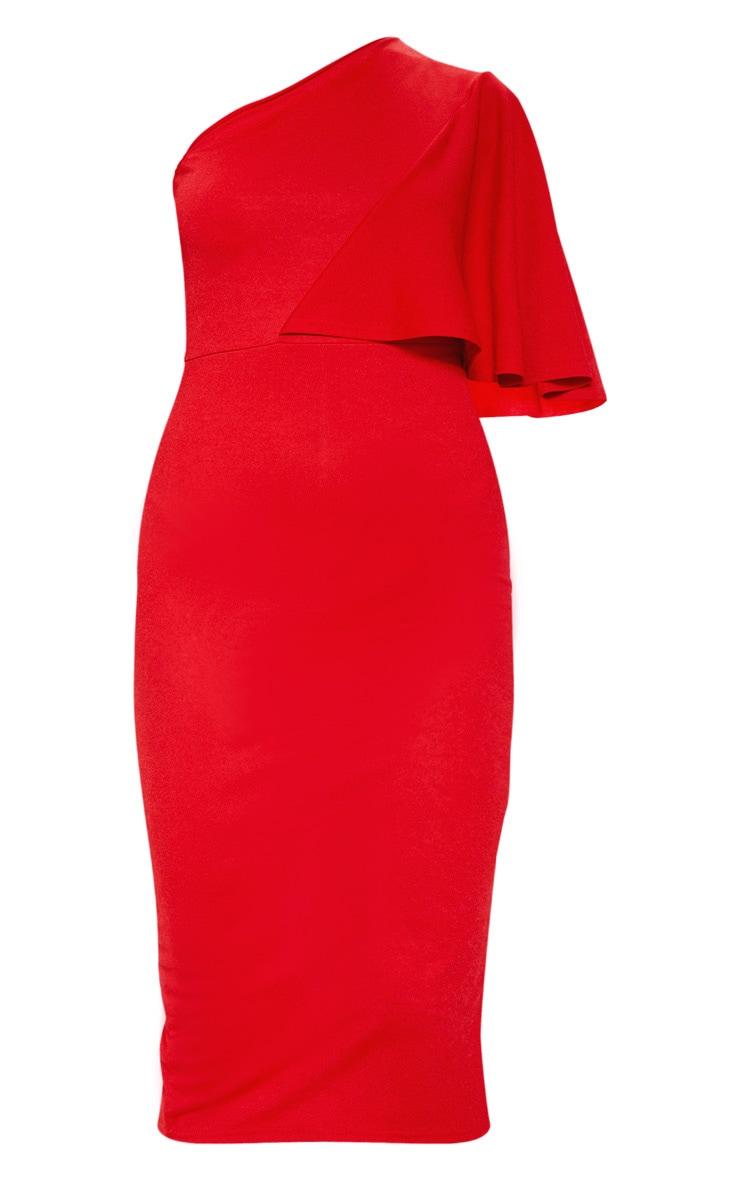 Red One Shoulder Cape Midi Dress 3