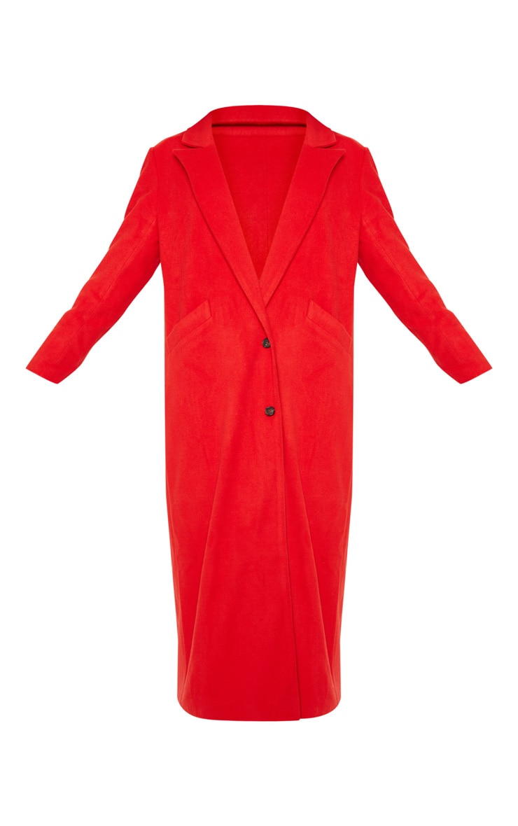 Red Longline Double Breasted Coat  3