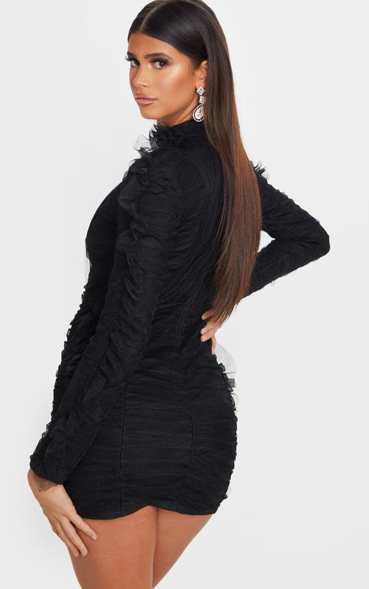 Black Bandage Chiffon Frill Bodycon Dress 2