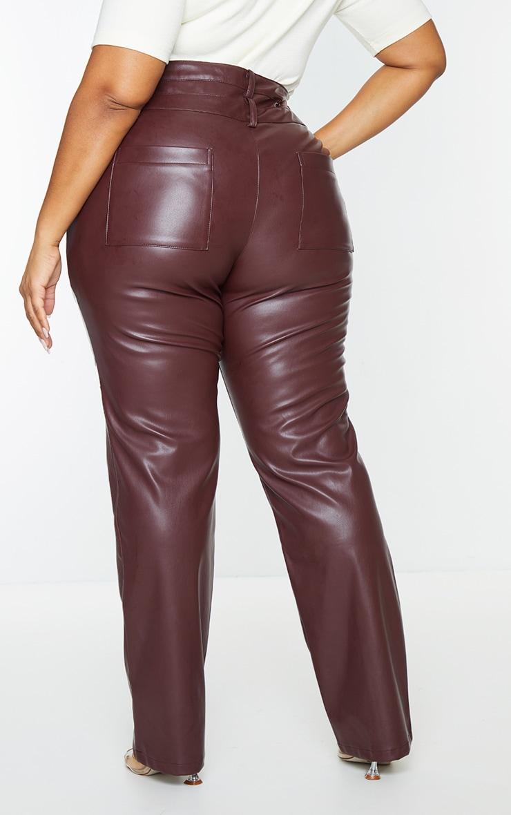 Plus Purple Faux Leather Double Waistband Straight Leg Pants 3