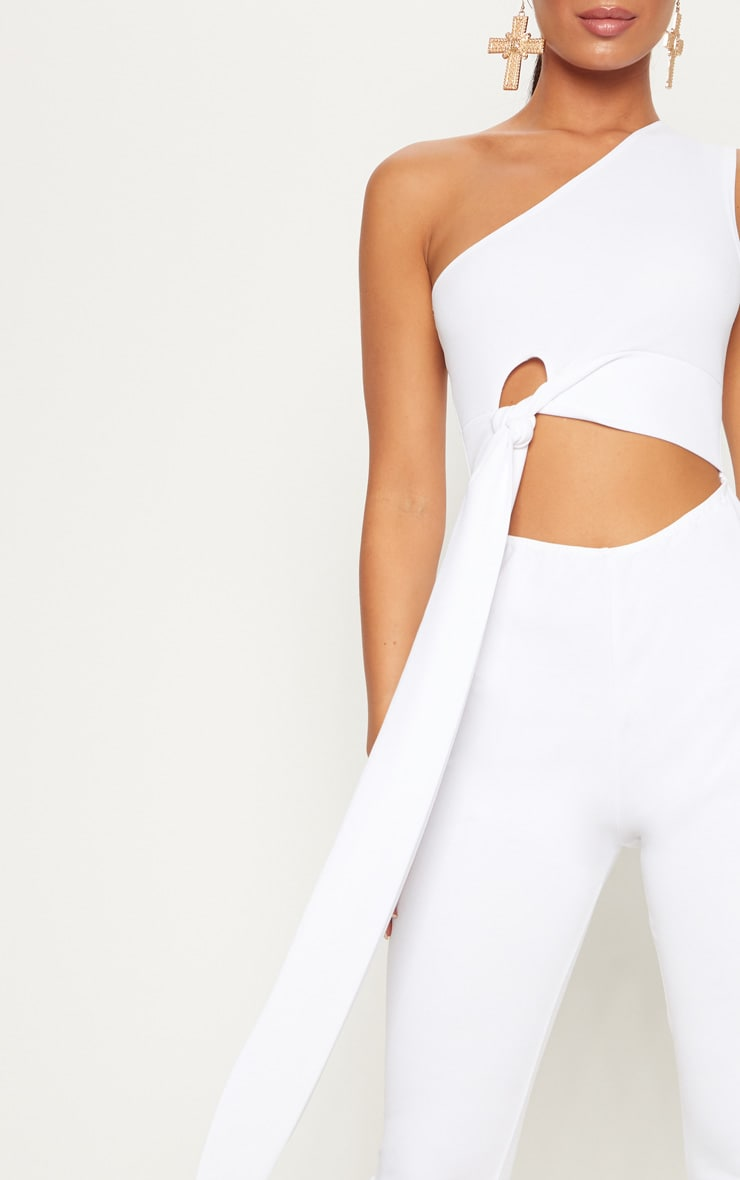 White Crepe One Shoulder Tie Front Jumpsuit 5