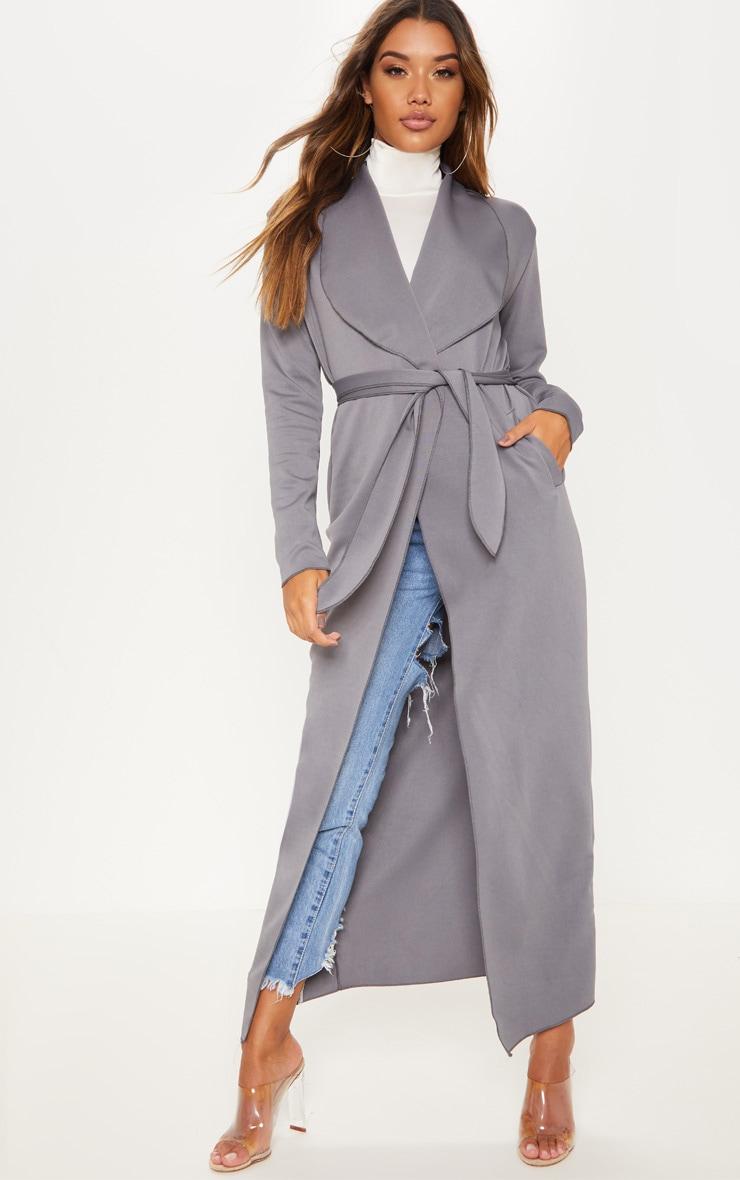 Grey  Long Scuba Waterfall Coat 1