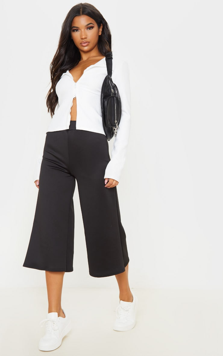 Black High Waisted Scuba Culottes 1
