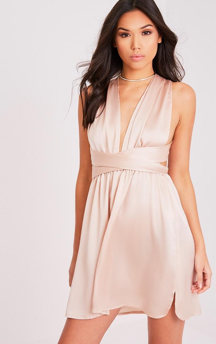 Tara Champagne Silky Multiway Mini Dress 8