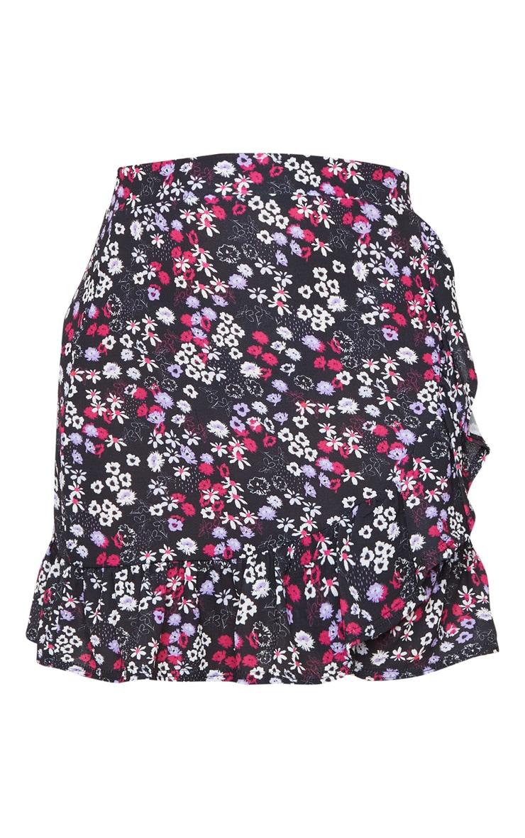 Black Ditsy Floral Frill Wrap Mini Skirt 6