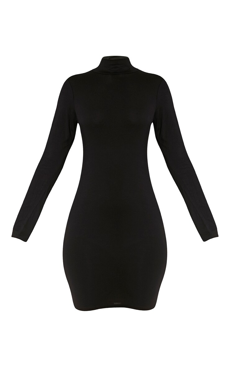 Basic Black Long Sleeve Bodycon Dress 3