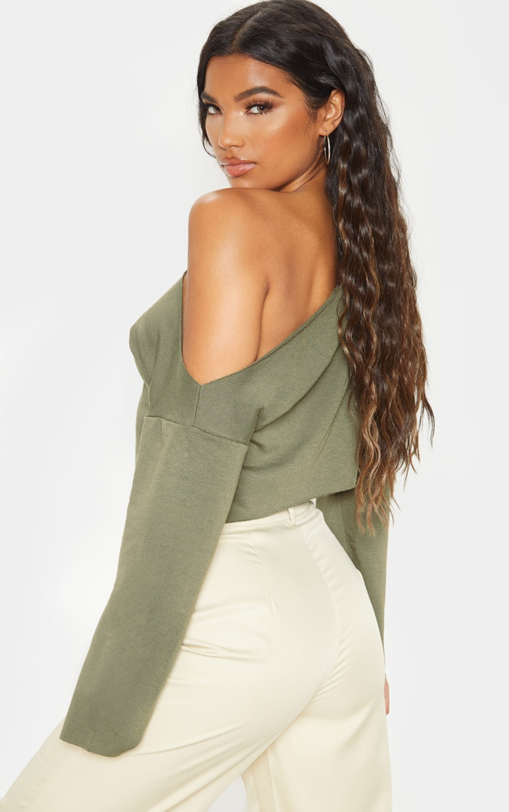 Hadley Khaki Off Shoulder Cropped Sweater 2