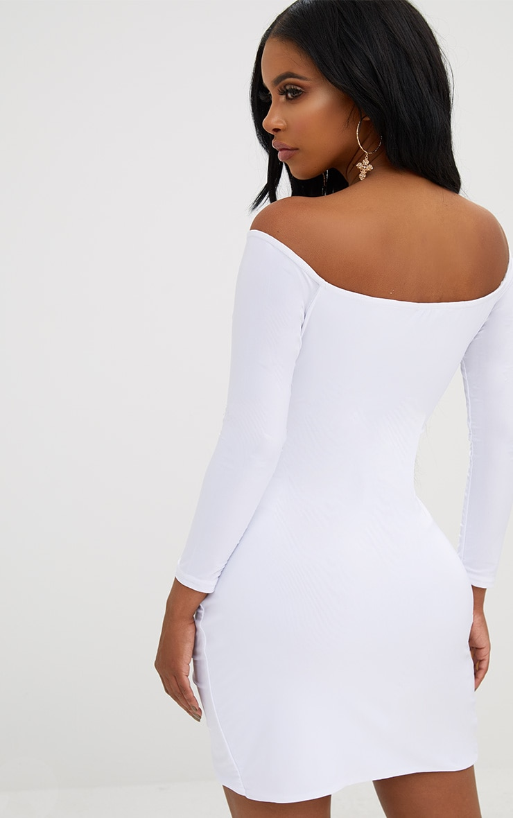 Shape White Ruched Bardot Bodycon Dress 2