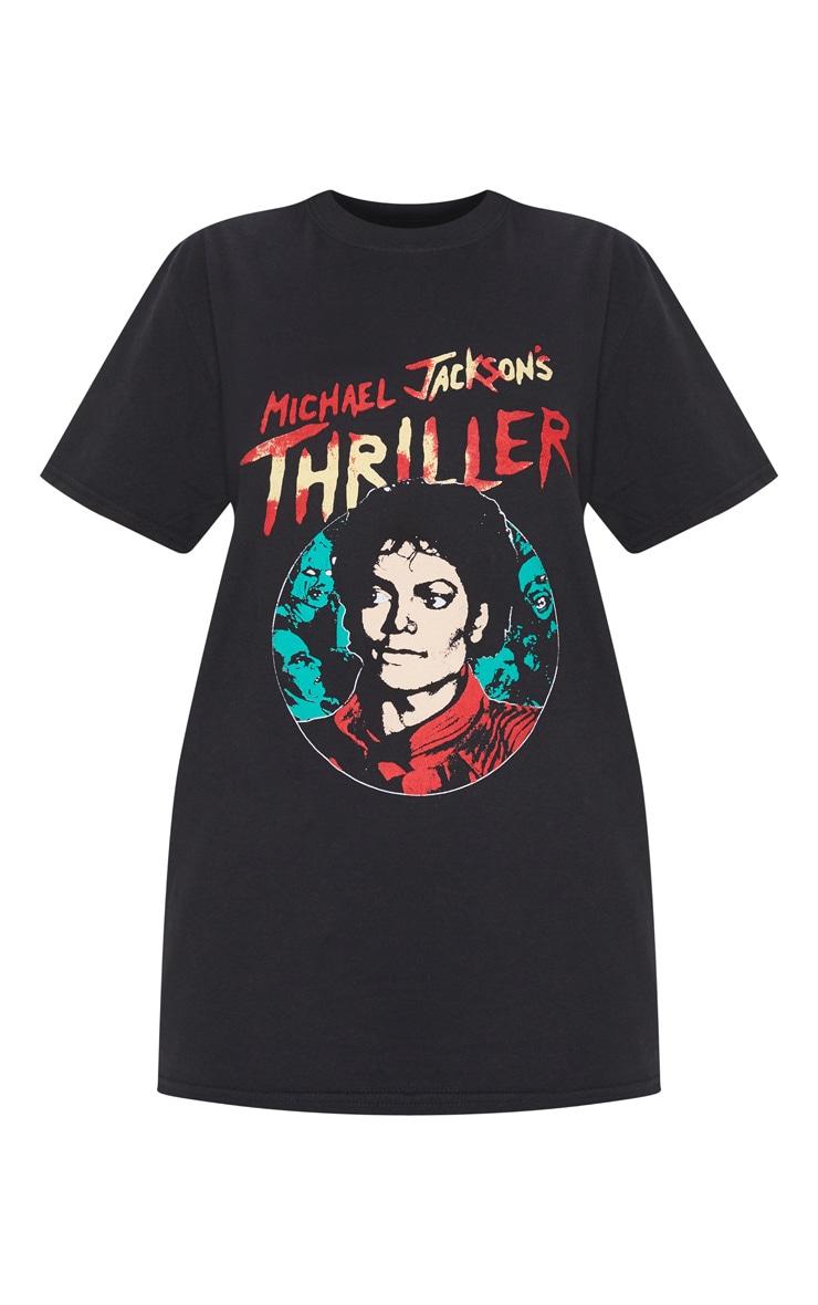 Black Printed Thriller Oversized T Shirt 3