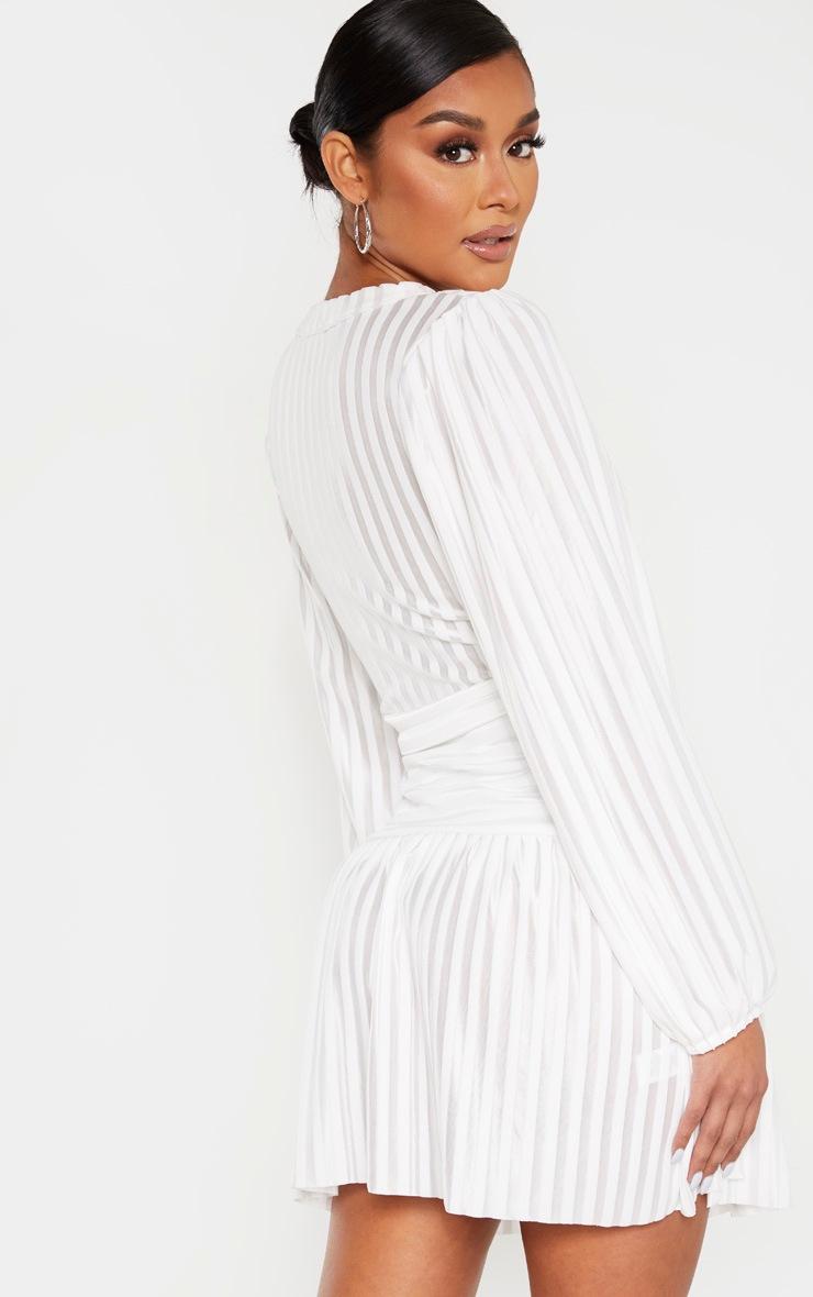 White Striped Puff Sleeve Wrap Skater Dress 2