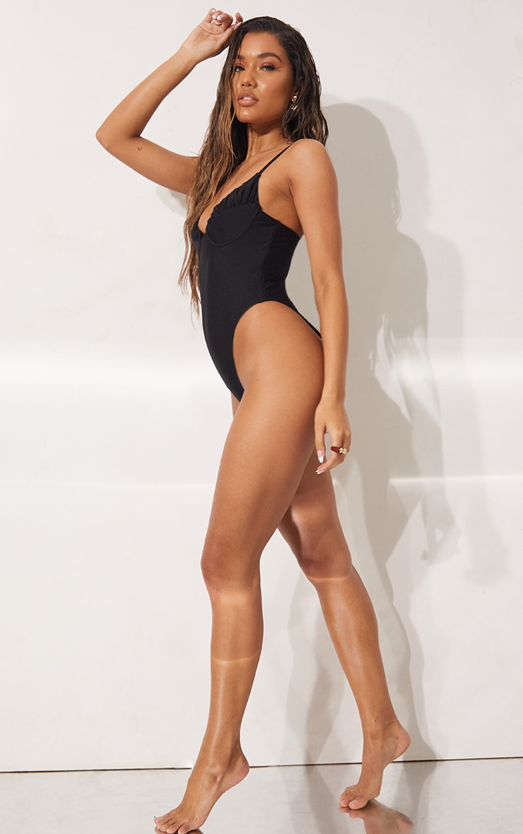 Black Ruched Cup Swimsuit 3