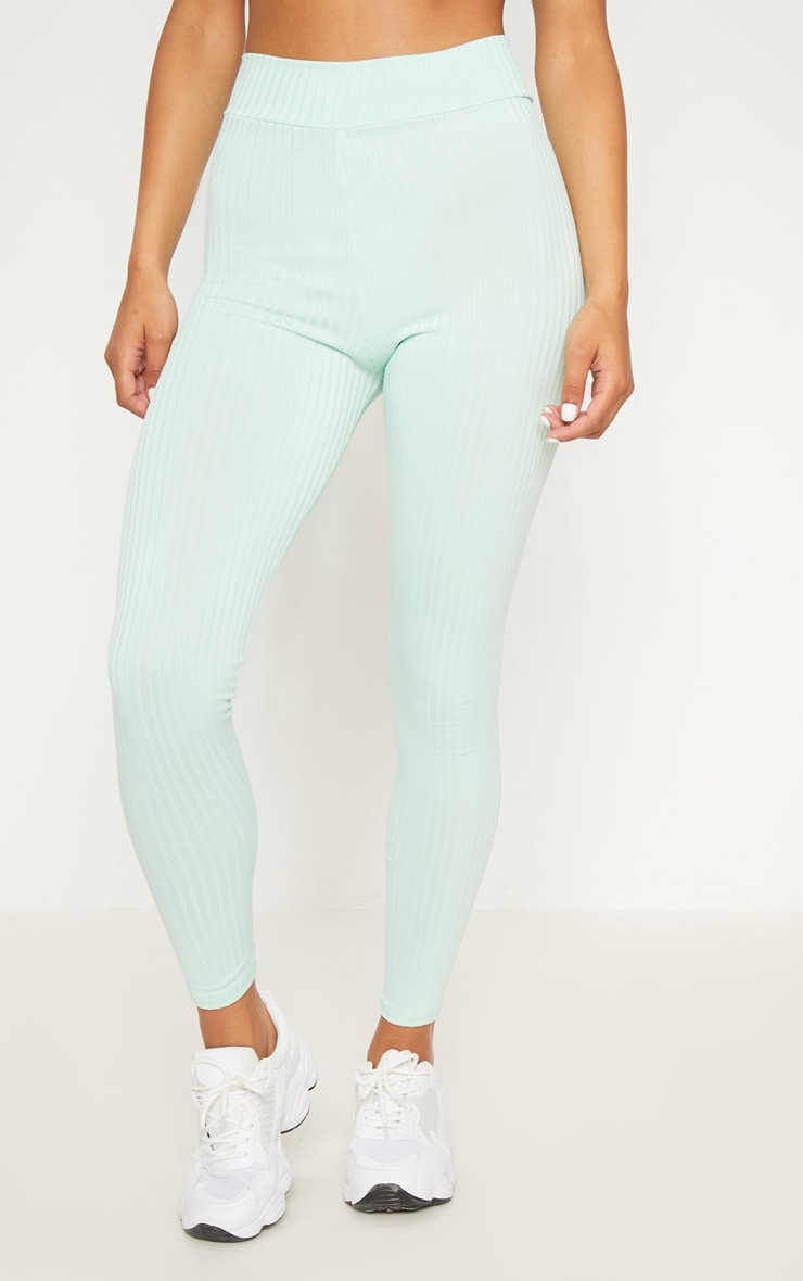 Mint Ribbed High Waisted Legging  2