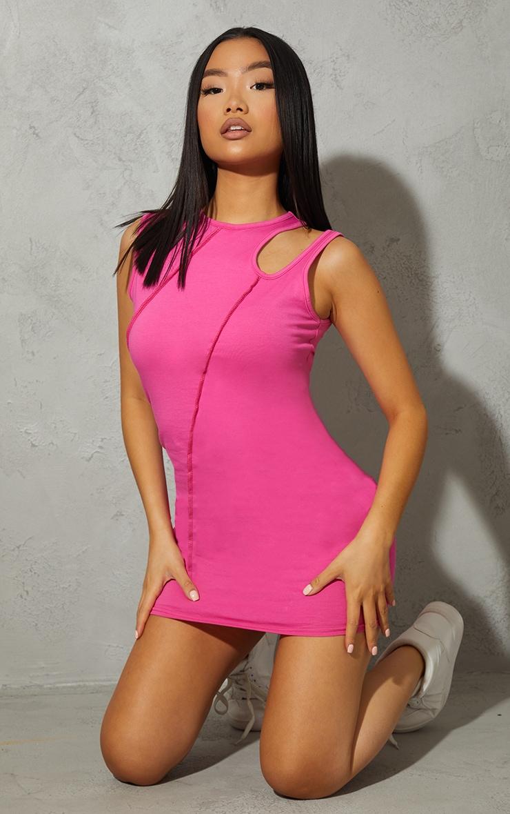 Petite Hot Pink Cotton Seam Cut Out Sleeveless Bodycon Dress 1