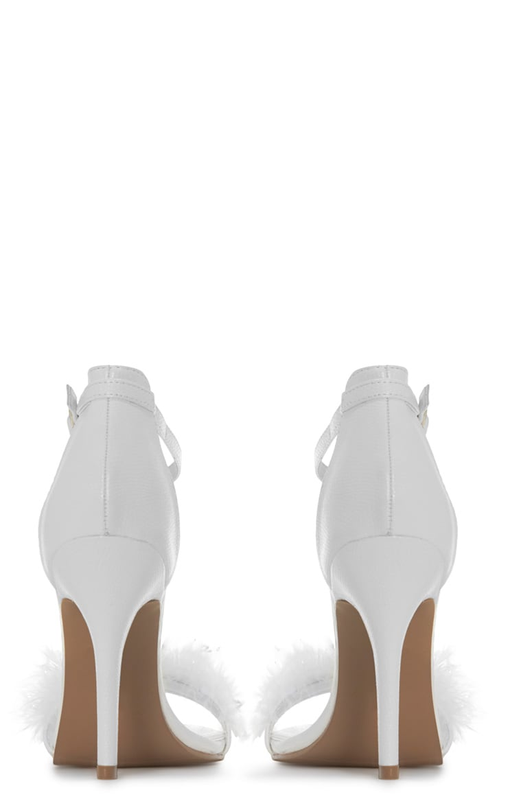 Saskia White Leather Fluffy Strappy Heeled Sandals 4