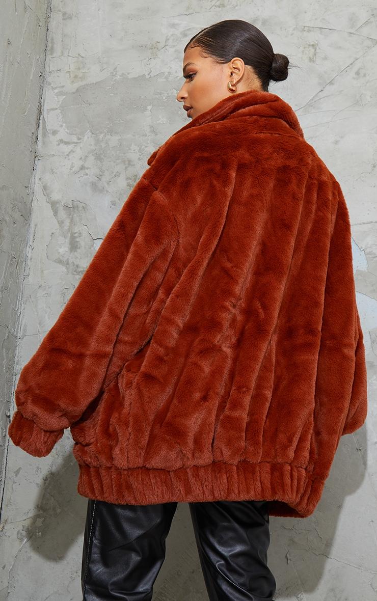 Brown Faux Fur Pocket Front Coat 2