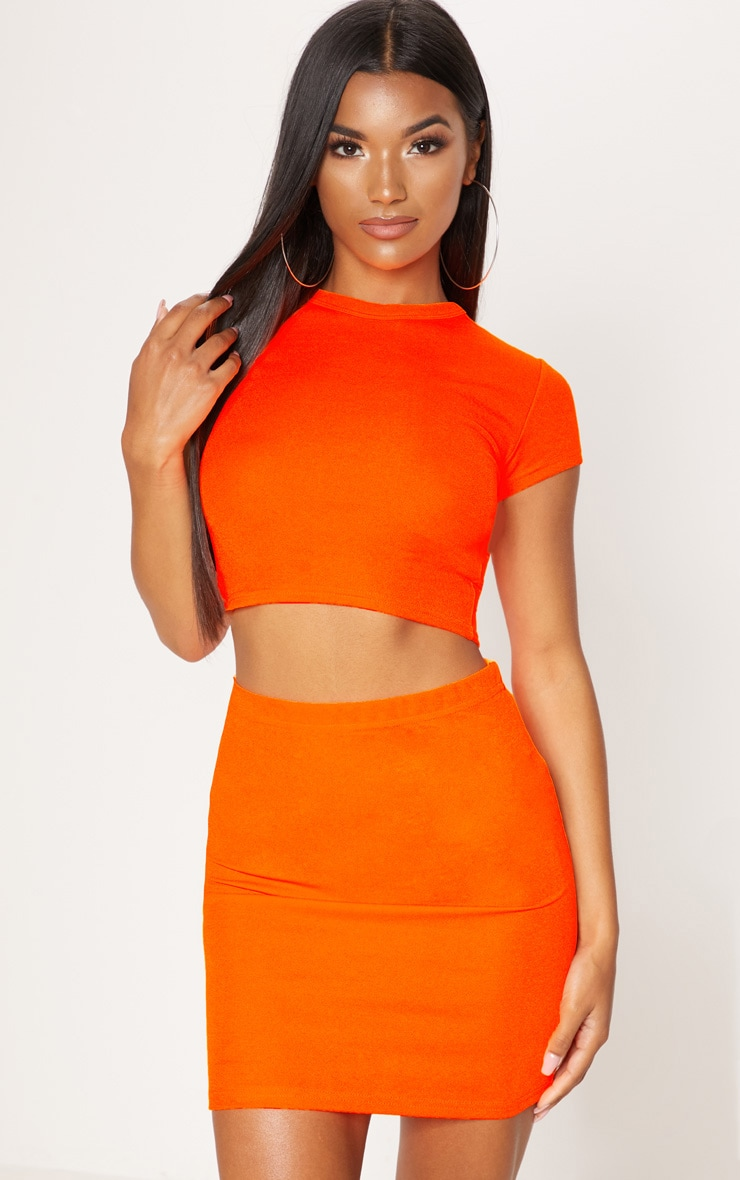 Neon Orange Short Sleeve Crop T Shirt 1