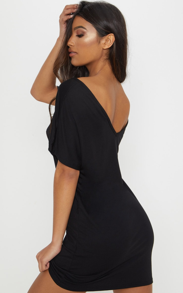 Basic Black V Neck T Shirt Dress 2