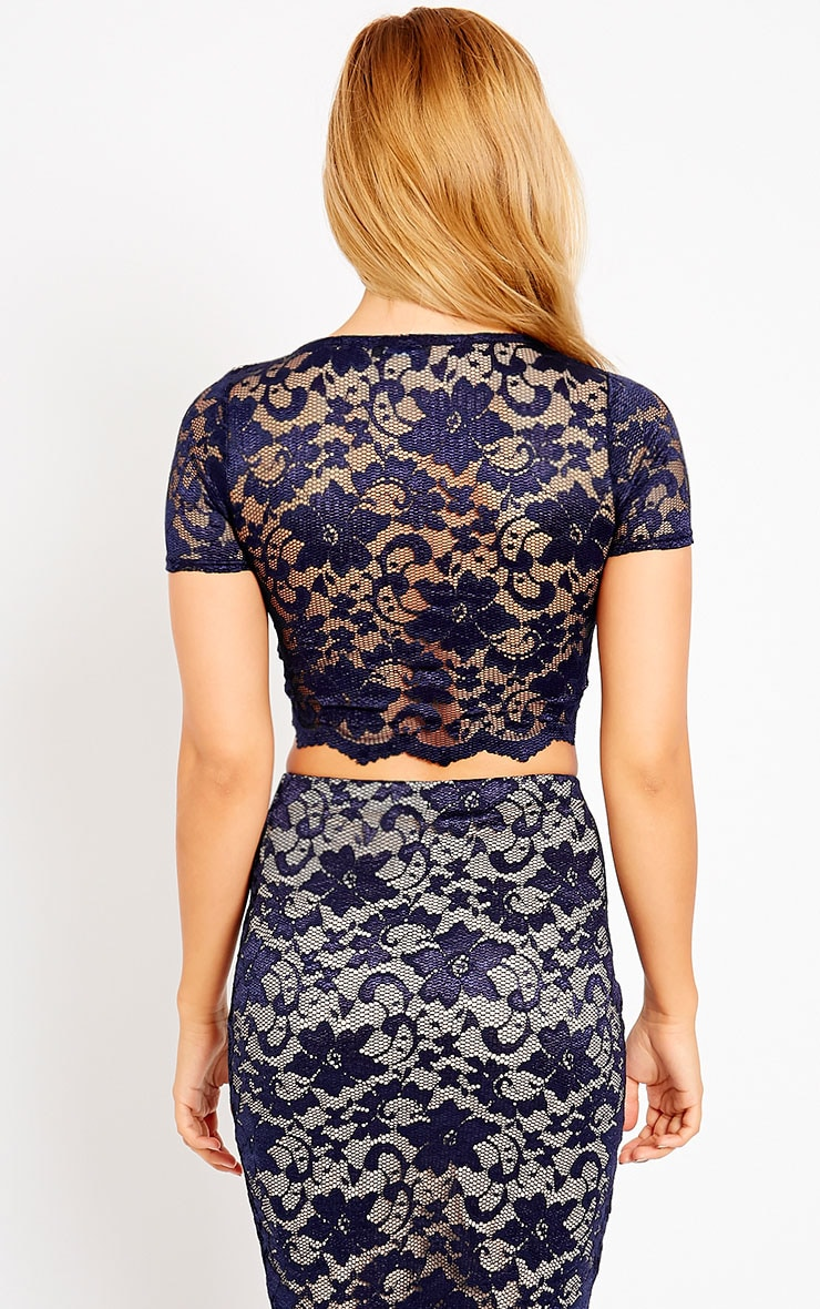 Rez Navy Scallop Lace Crop Top 2