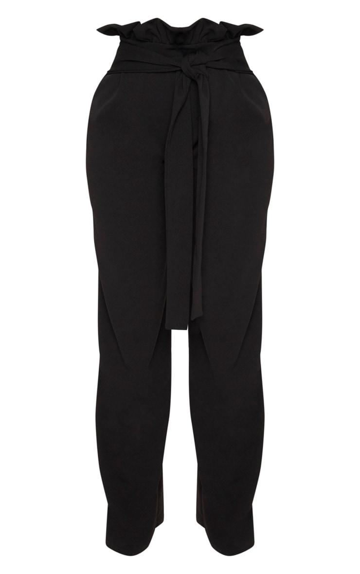 Shape- Pantalon ample noir à taille haute froissée 4