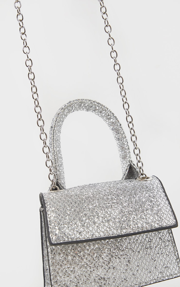 Silver Glitter Micro Mini Chain Grab Bag 3