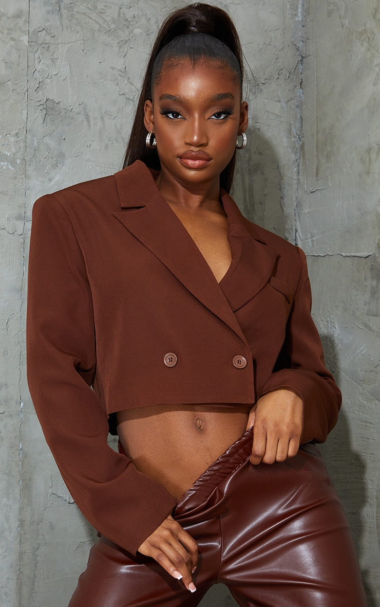 Chocolate Woven Cropped Shoulder Padded Blazer 1