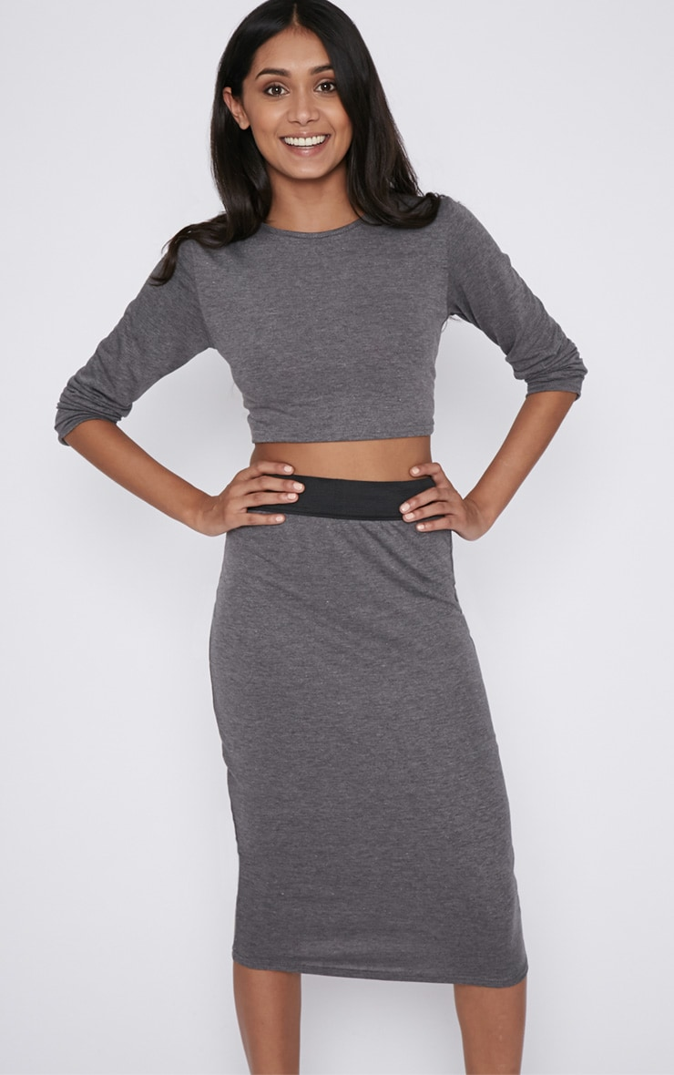 Una Charcoal Long Sleeved Crop Top  1