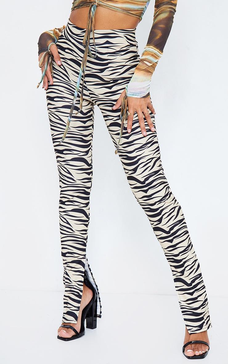 Tiger Print Split Hem Detail Skinny Pants 3