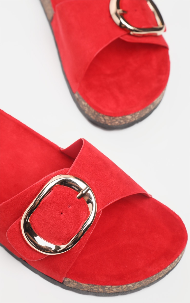 Red Buckle Detail Mule Sandal 4
