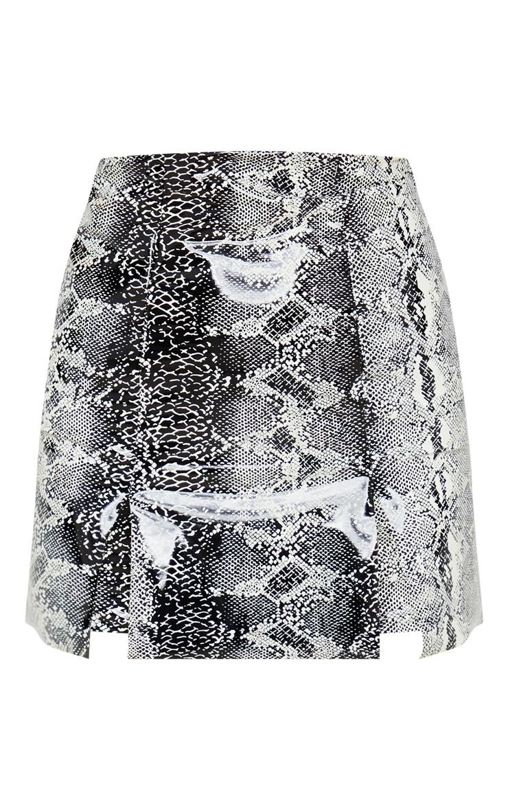 Black Vinyl Snake Print Double Split Mini Skirt 3