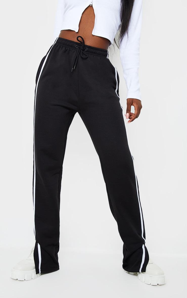Tall Black Double Stripe Split Hem Joggers 2
