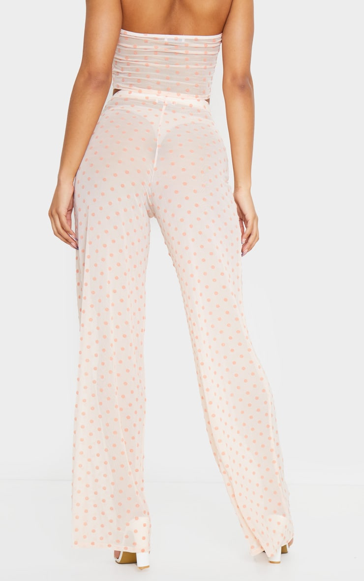 Light Pink Polka Dot Printed High Waist Wide Leg Pants 3