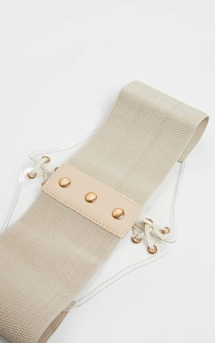 Nude Lace Up Clear PU Corset Belt 3