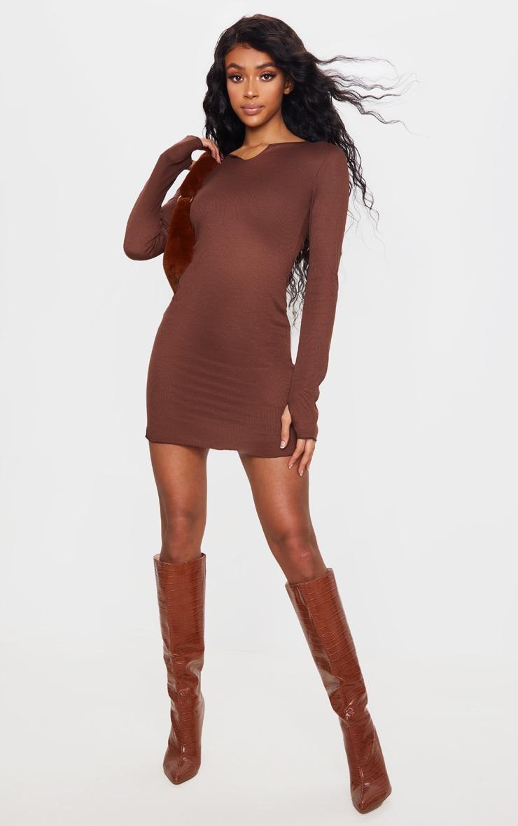 Chocolate Split Detail Thumb Hole Raw Edge Bodycon Dress 3
