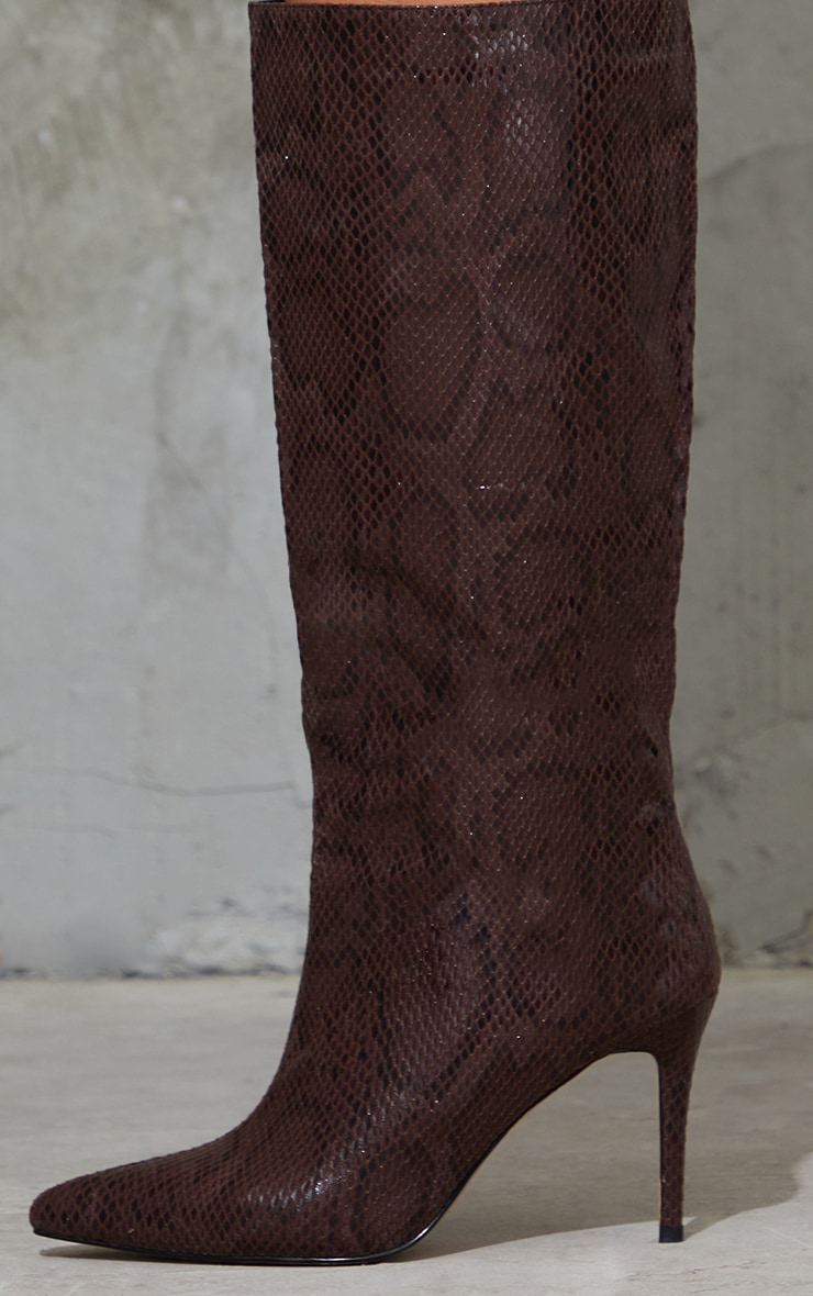 Chocolate Snake Scale Pointed Toe Stiletto Boots 4