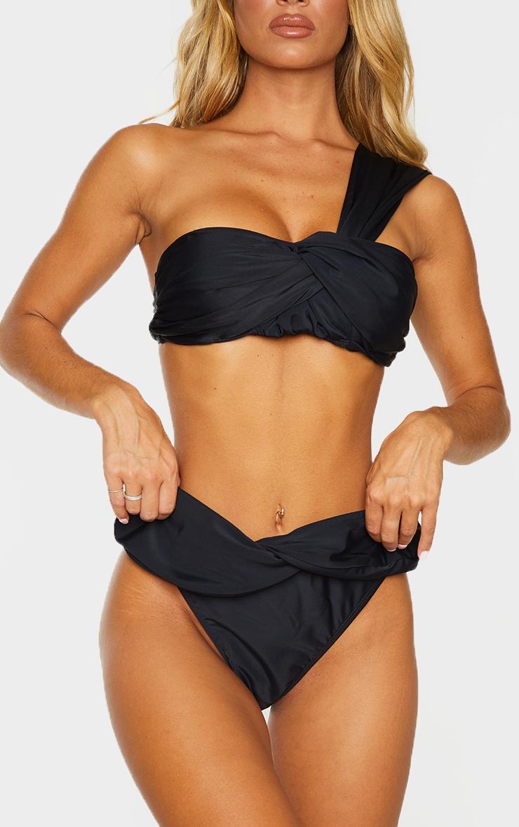 Black Turnover Twist High Leg Bikini Bottoms 1