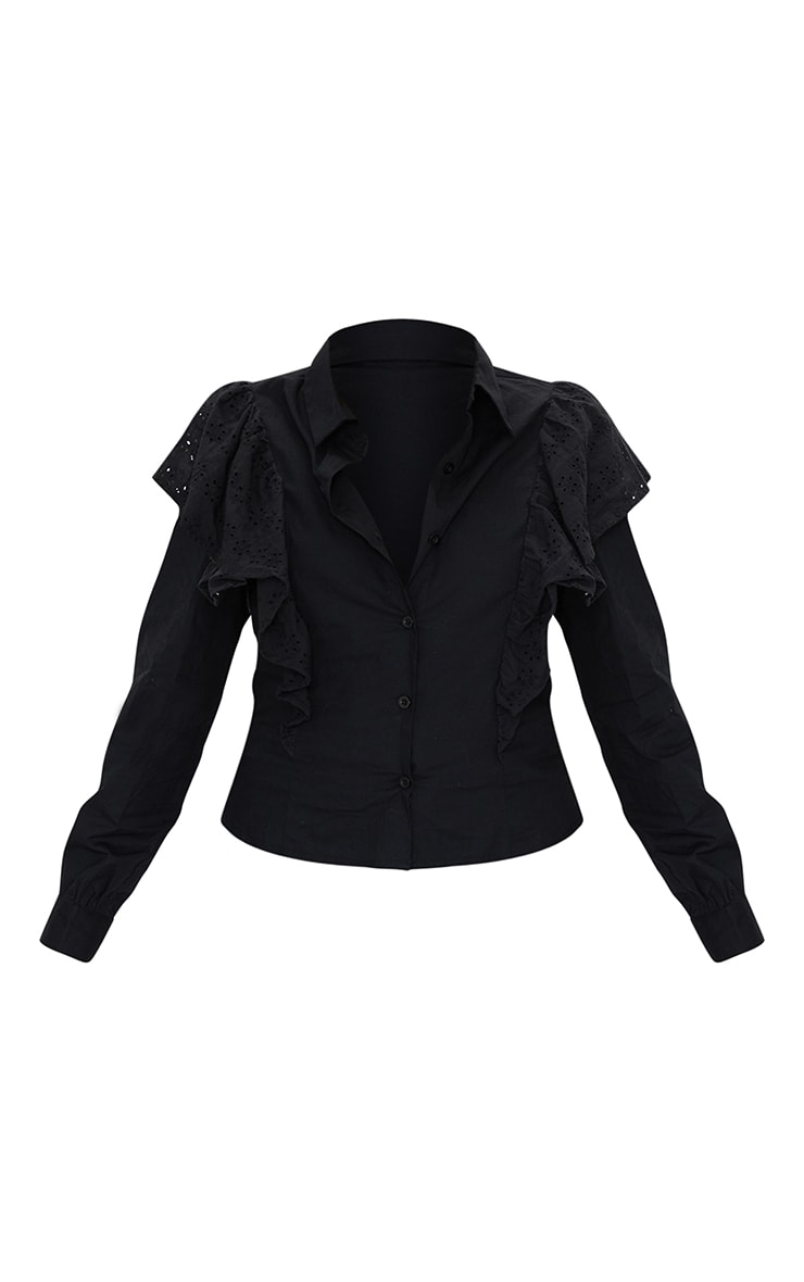 Petite Black Broderie Anglaise Frill Blouse 5