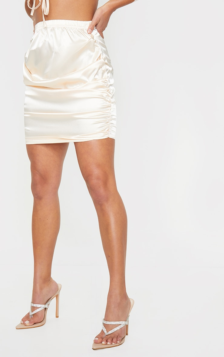 Petite Champagne Satin Ruched Skirt 2