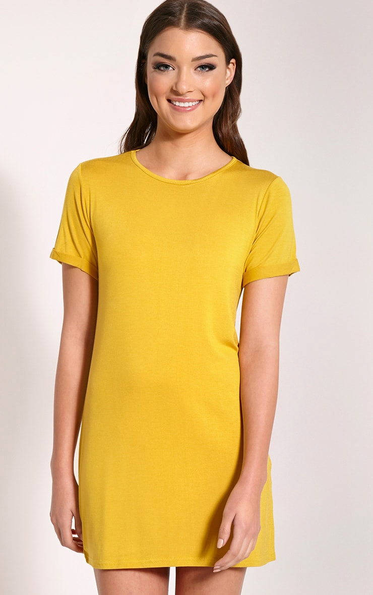 Basic Mustard Boyfriend Jersey T Shirt Dress 1