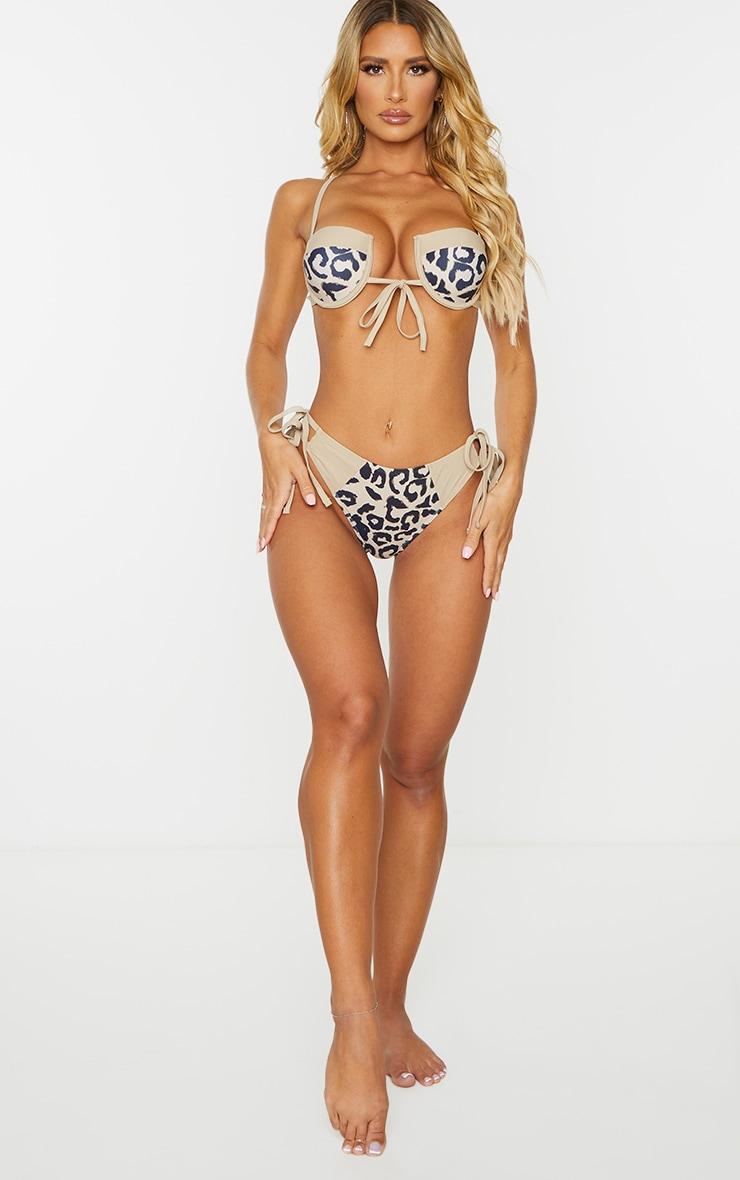 Nude Leopard Double Tie Side Bikini Bottoms 3