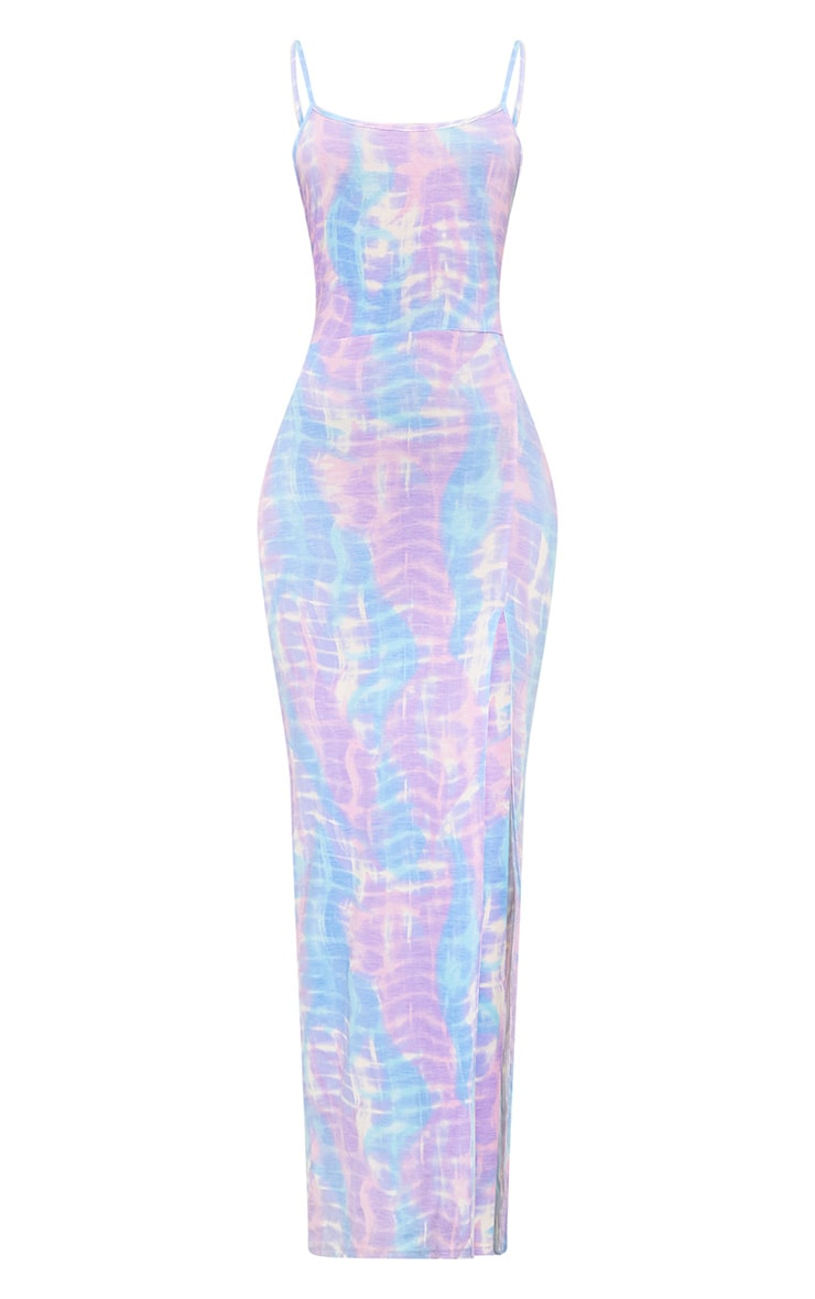 Lilac Tie Dye Strappy Thigh Split Maxi Dress  3