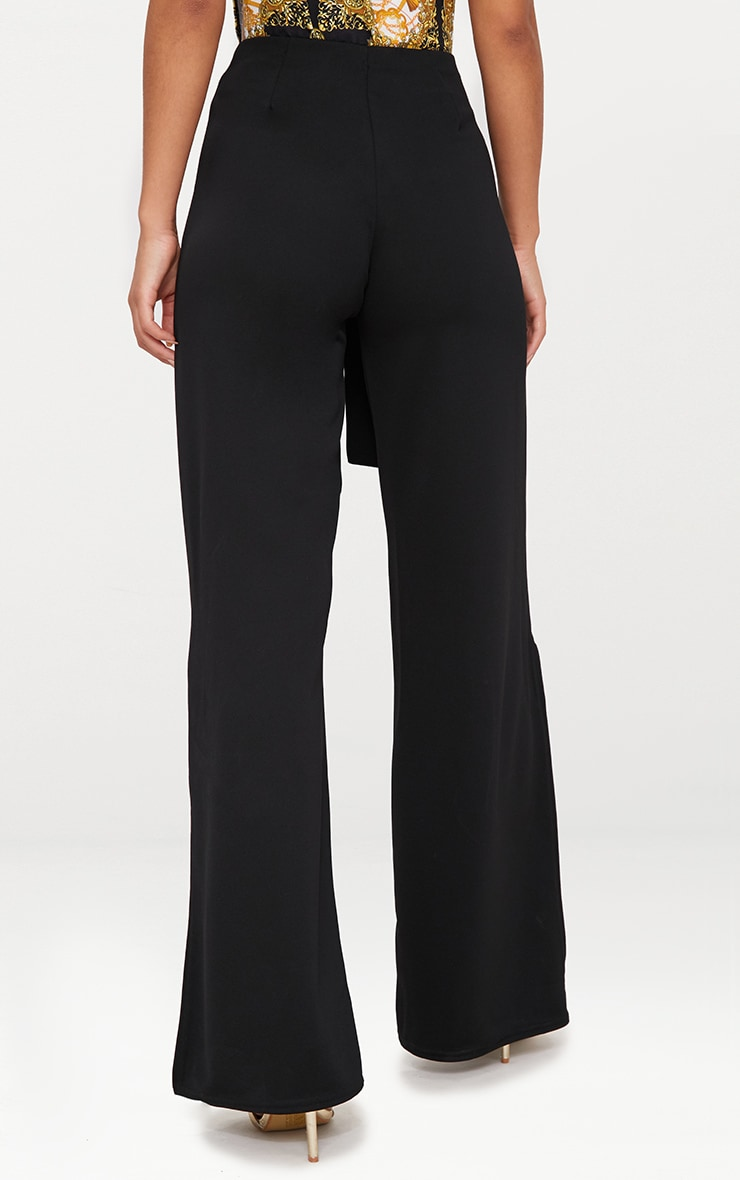 Black Tie Waist Split Leg Wide Leg Trousers 4