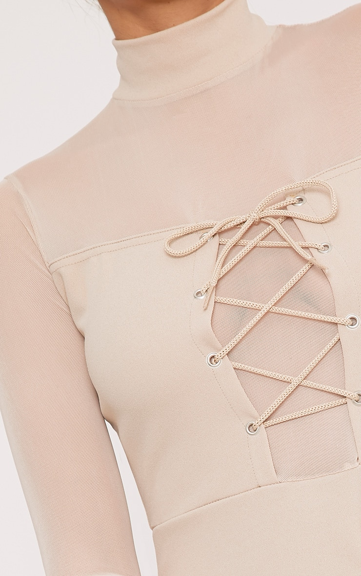 Kelissia Nude Corset Detail Mesh Bodycon Dress 5