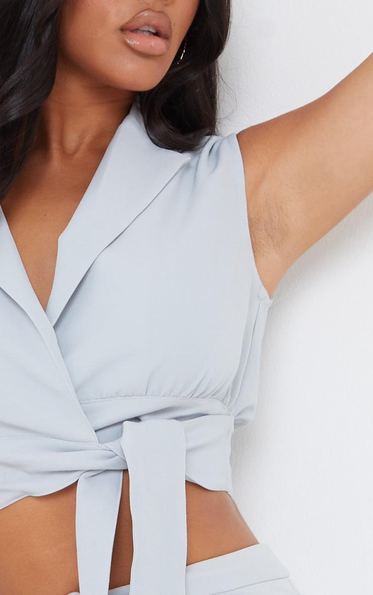 Light Grey Woven Tie Side Sleeveless Top 4