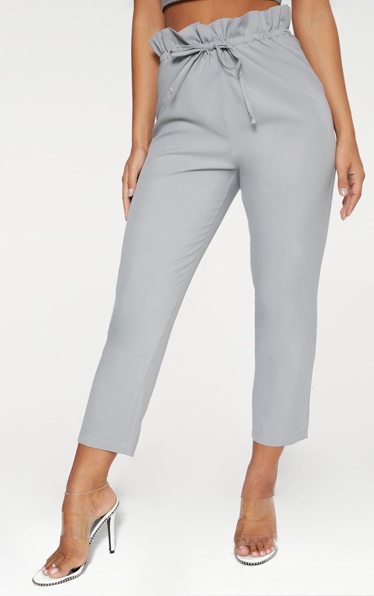 Grey Woven Paperbag Slim Leg Trousers 2