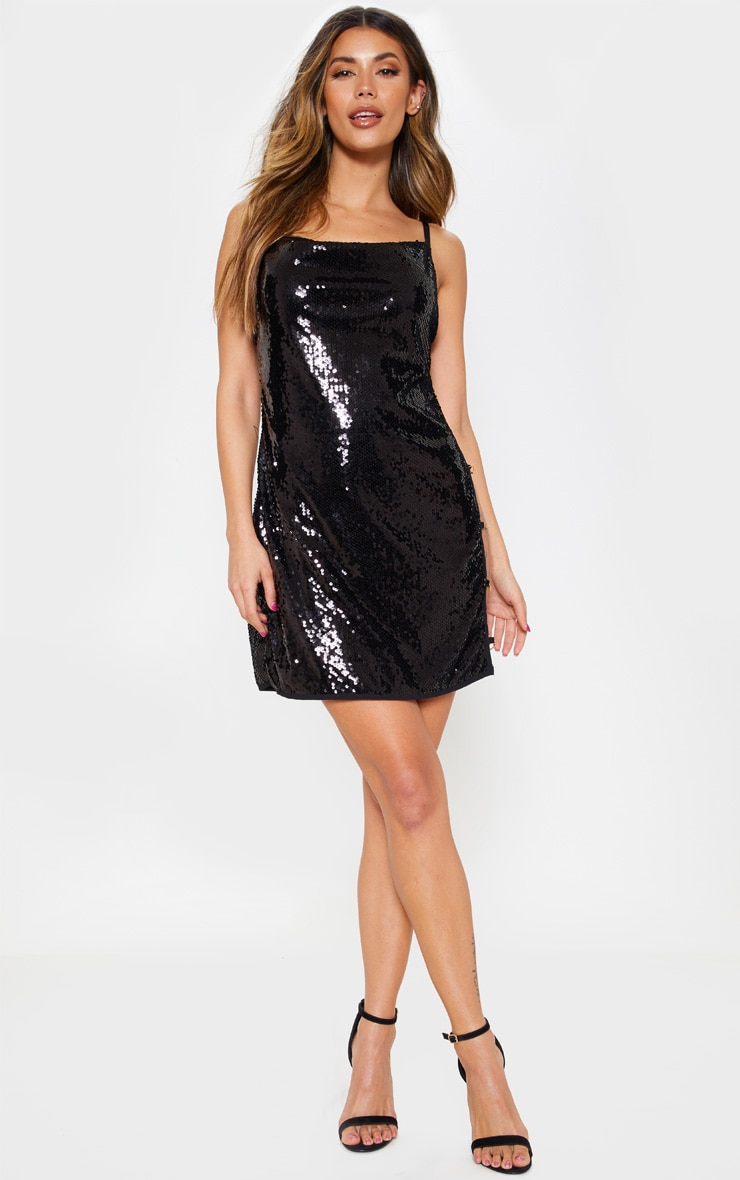 Black Sequin Chain Side Detail Bodycon Dress 1