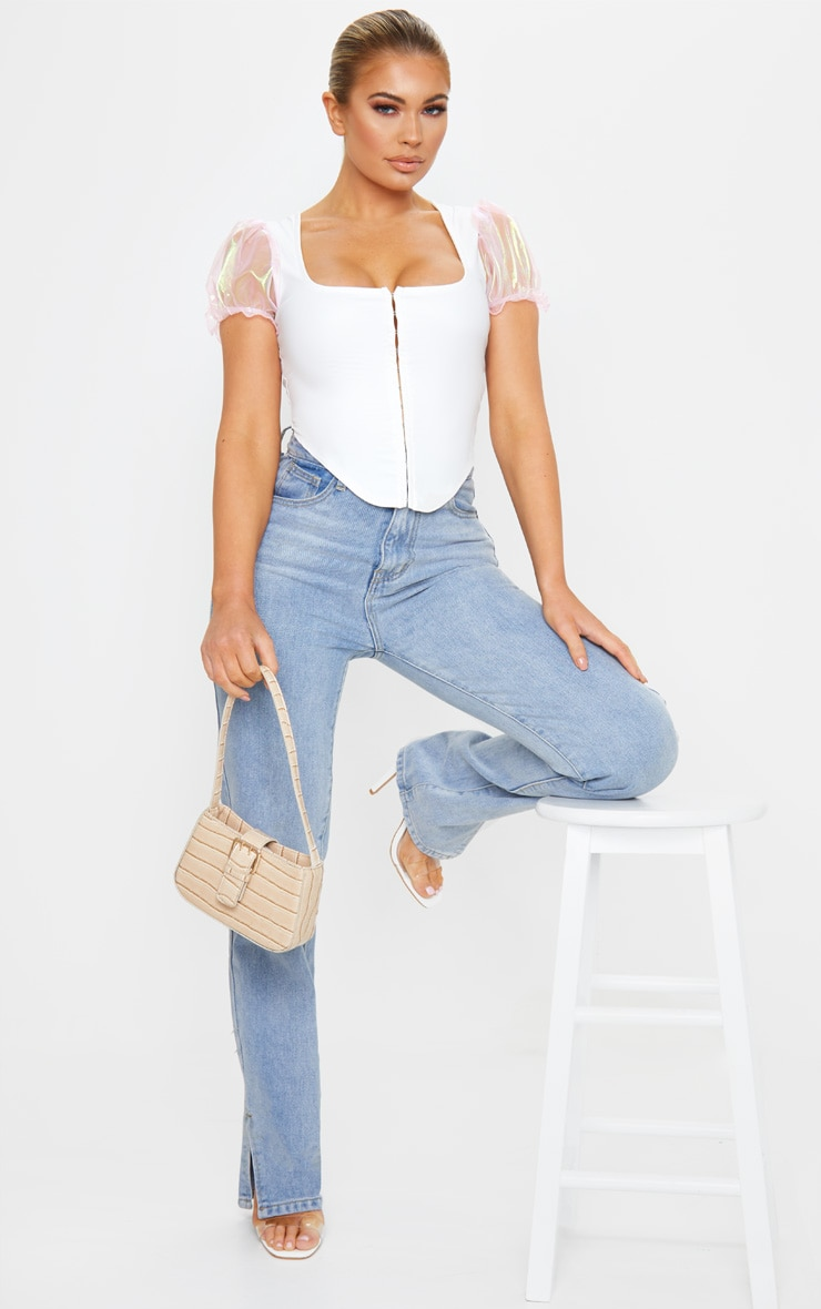 White Hook And Eye Organza Sleeve Crop Top 3