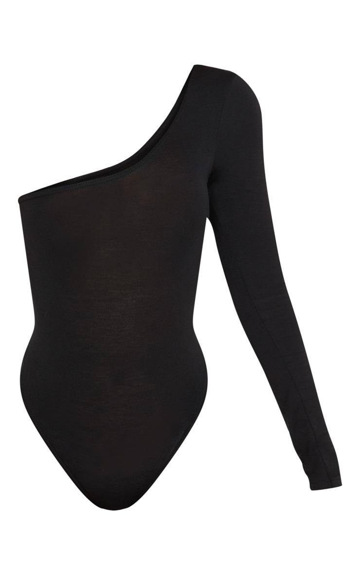 Shape Black Asymmetric Long Sleeve Bodysuit 3