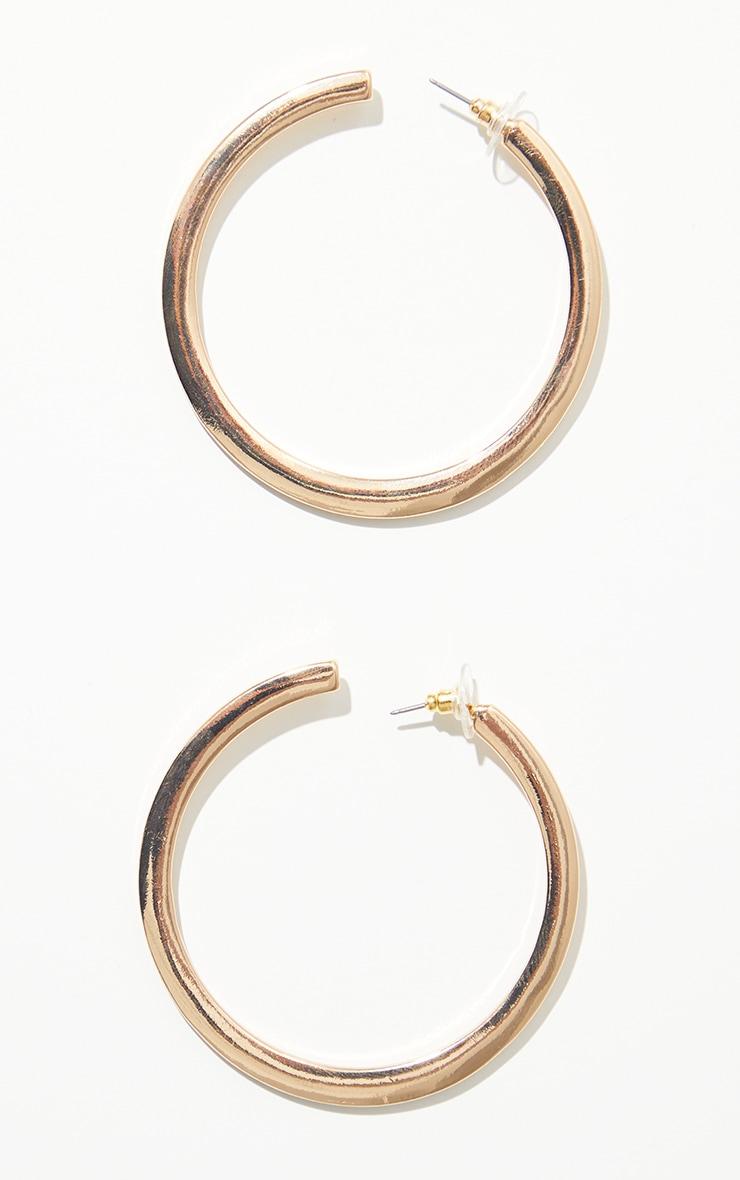 Gold Thick Flat Hoop Earrings 2