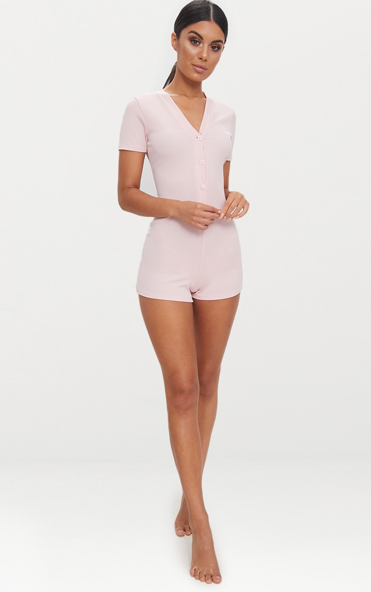 Pale Pink Ribbed Button Detail Short Sleeve PJ Romper 4